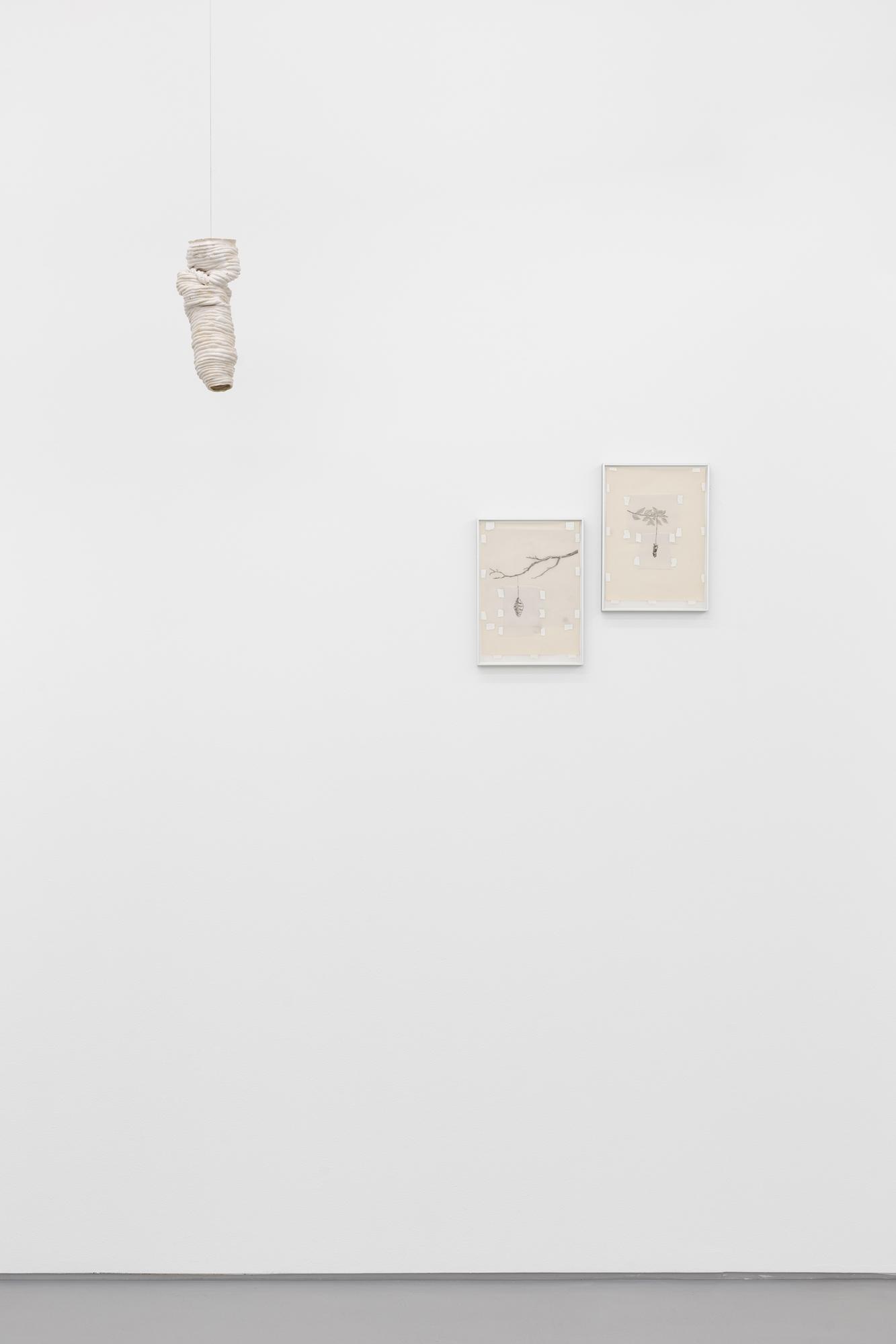 Carlos Bunga, Casulo #5; Casulo IV, Casulo V, 2021. Stoneware; pencil on tracing paper and paper, tape. 25,2 x 12 cm; 2: 31 x 32 cm