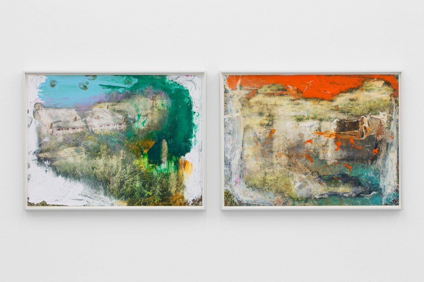 Carlos Bunga, Homeless #5; Homeless #1, 2021. Acrylic on chromogenic color print. 30 x 40 cm (each)